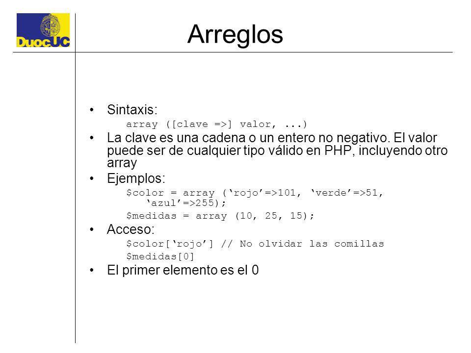 Arreglos Sintaxis: array ([clave =>] valor, ...)